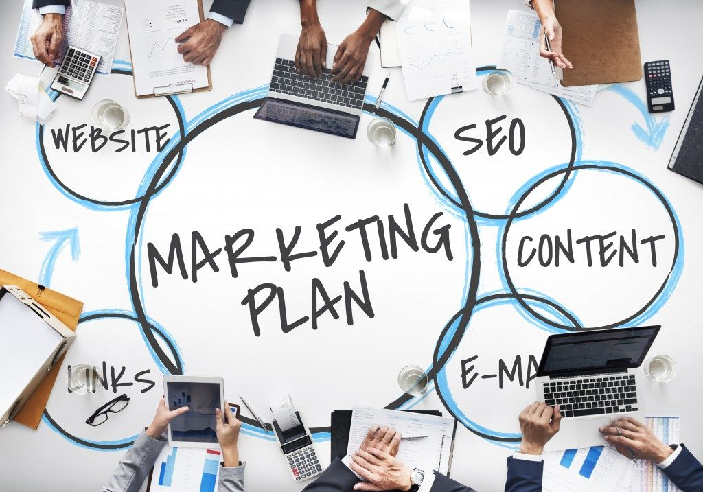 marketing plan icons in a white table
