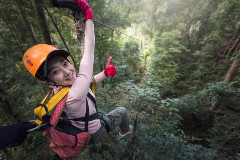 a woman at a zipline