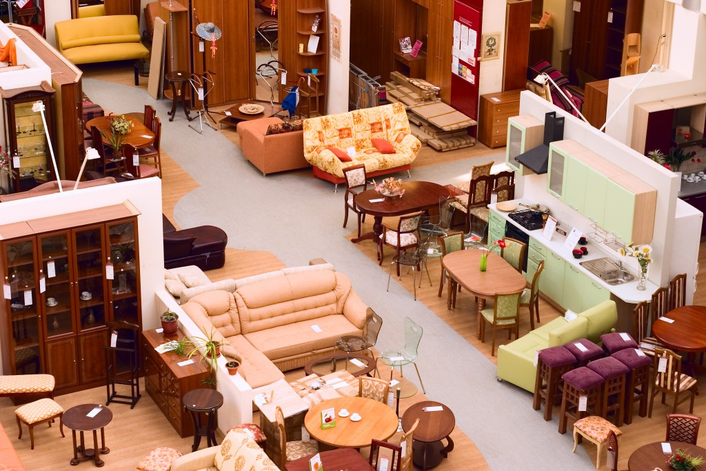 furniture selections at a store