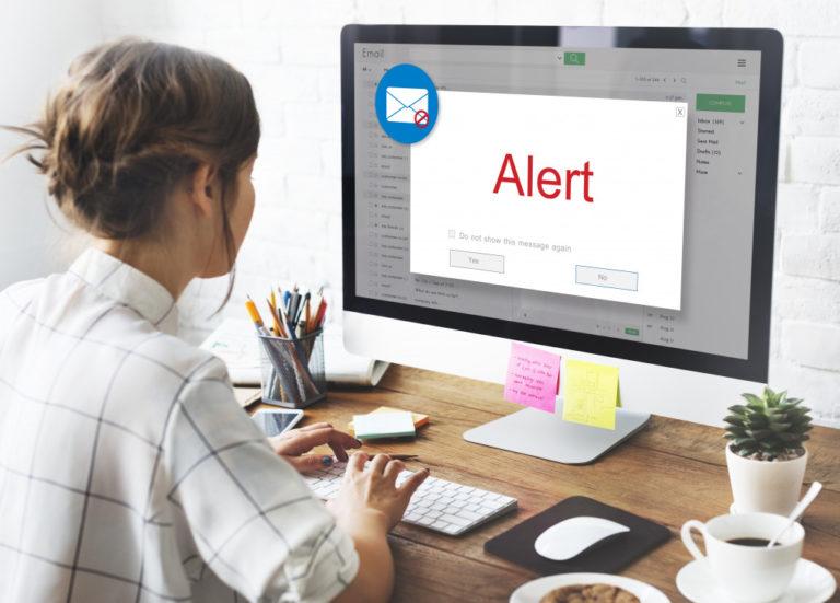 woman receiving an alert