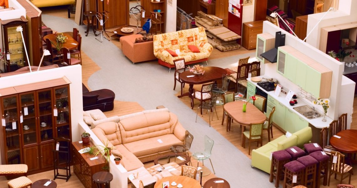 aerial view of a furniture store